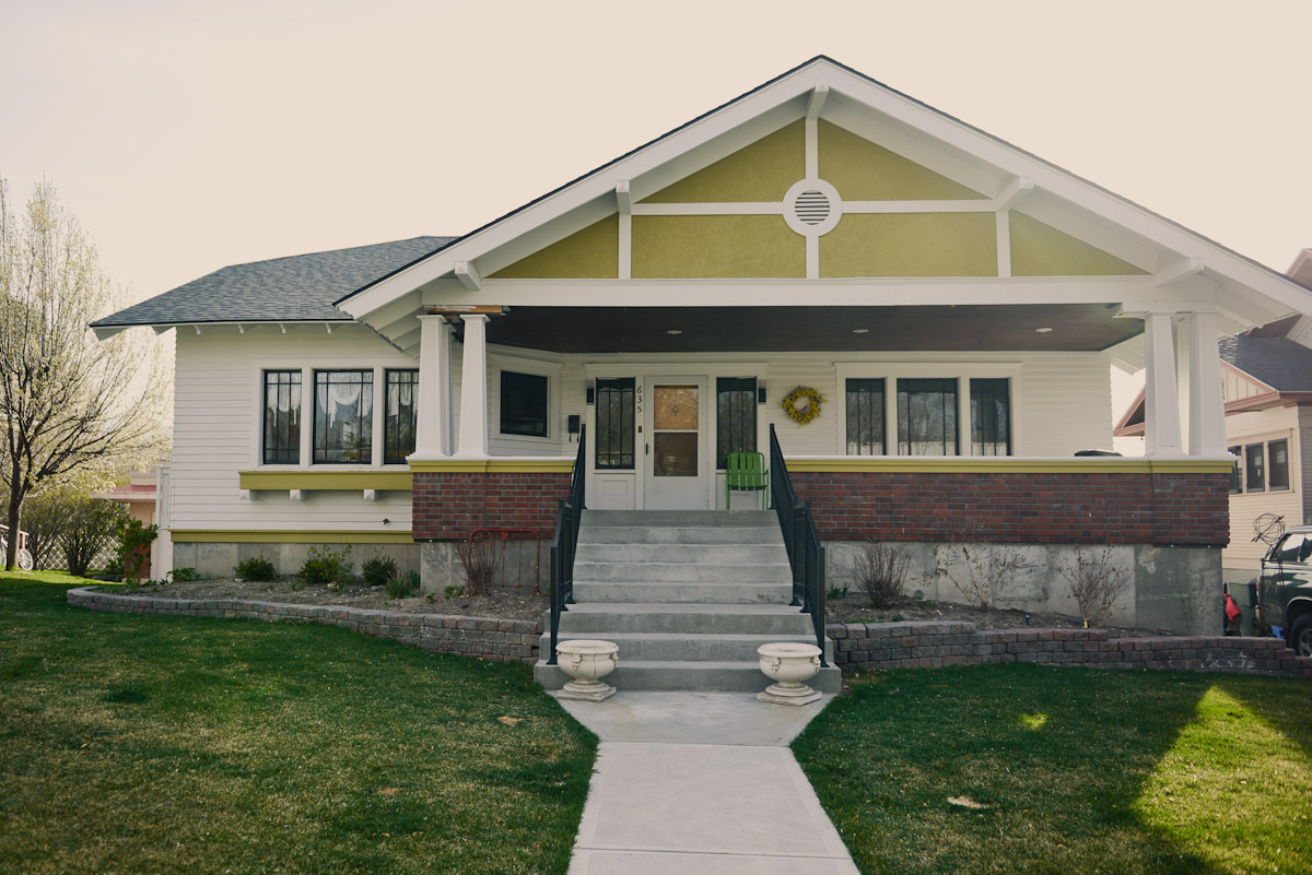 New green paint adds vitality to the exterior and helps architectural features stand out. Photo by Jenny Losee, Flourish Idaho. Image source  here .
