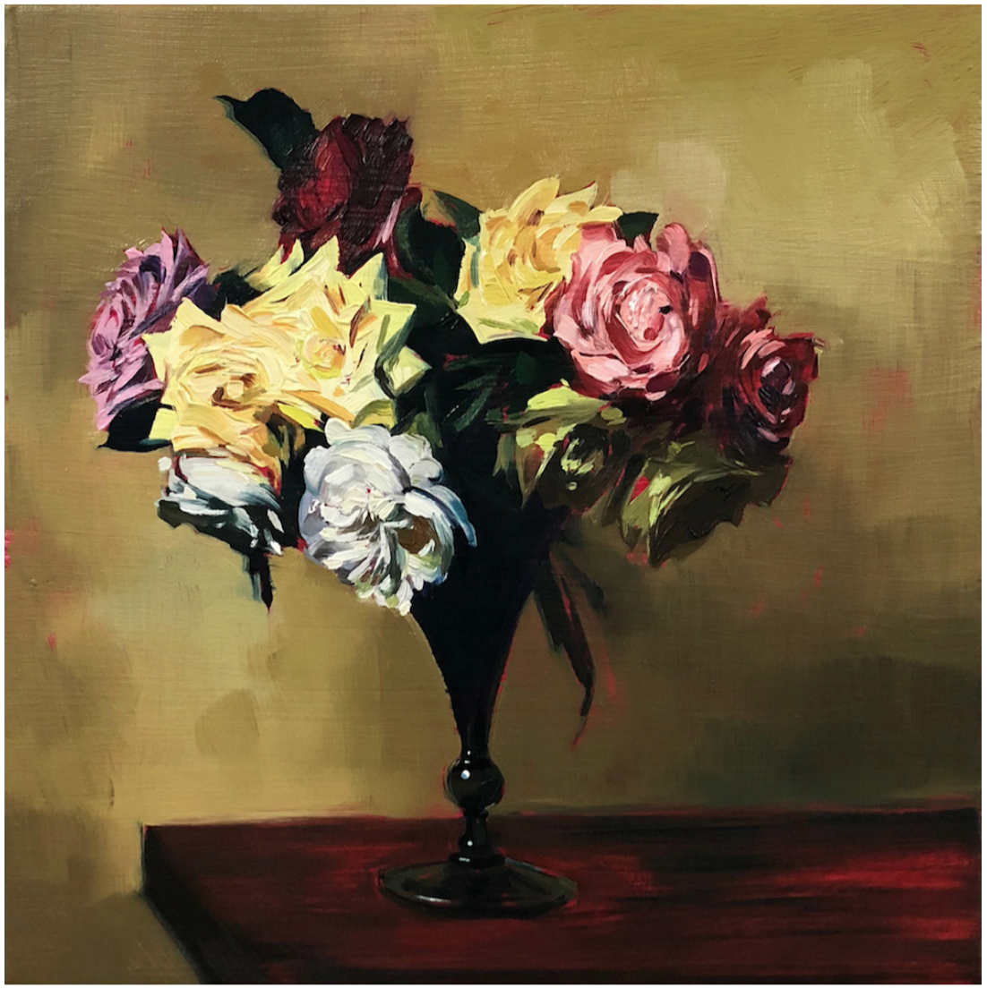 Sam McKinniss,  Roses (after Fantin-Latour) , 2018    Oil and acrylic on canvas    Image © the artist