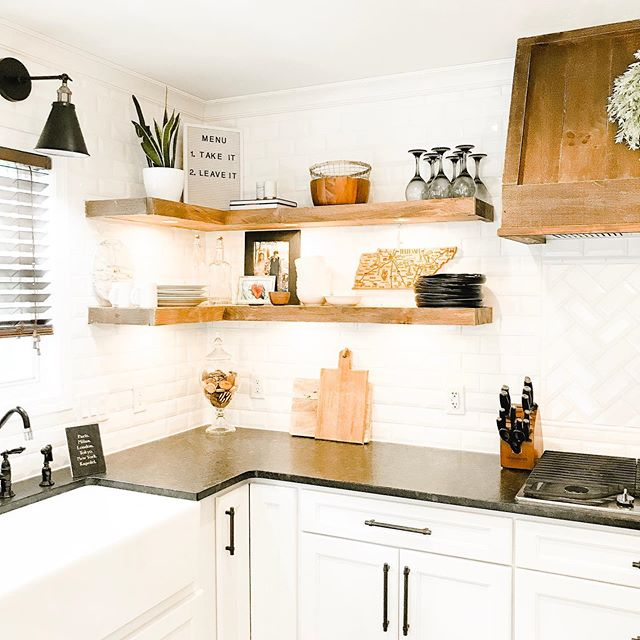 Nothing like a clean kitchen. . . . . . #cleankitchen #floatingshelves #openshelves #kitchencorner #farmhousekitchen #modernfarmhouse #farmhouseinspo #shelvestyling #kitchenshelving #cozykitchen #kitchendesign #kitchenremodel #kitchensofinstagram #peepmypad #myhousebeatiful #wherewedwell #makehomeyours #smallspacesquad #neutralhome #neutralhomedecor #summercleaning