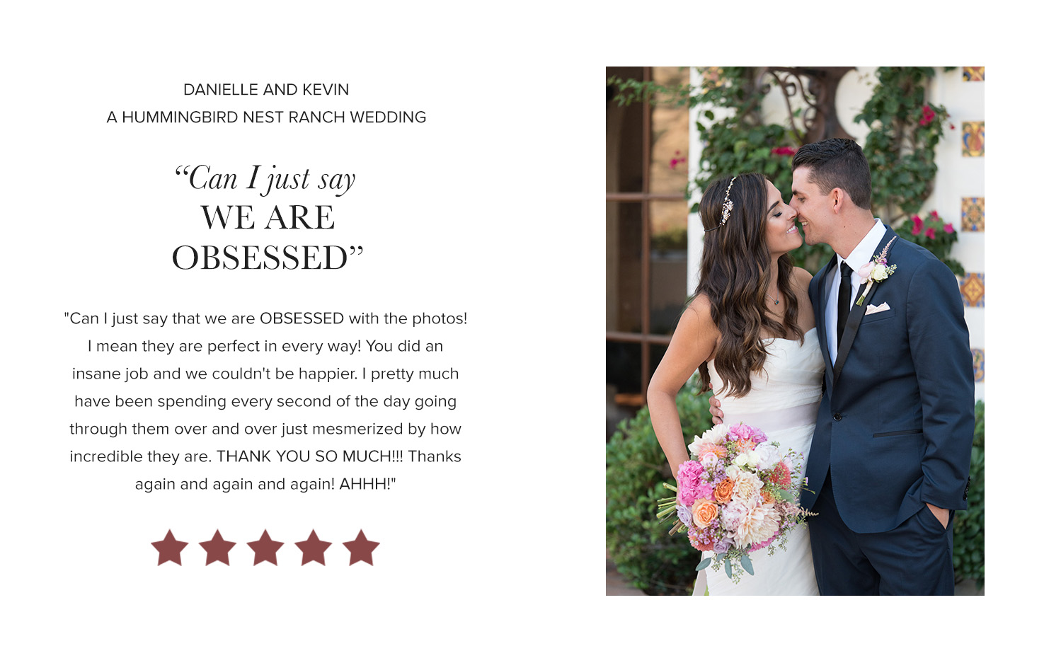 David Manning Photographer Hummingbird Nest Ranch wedding review
