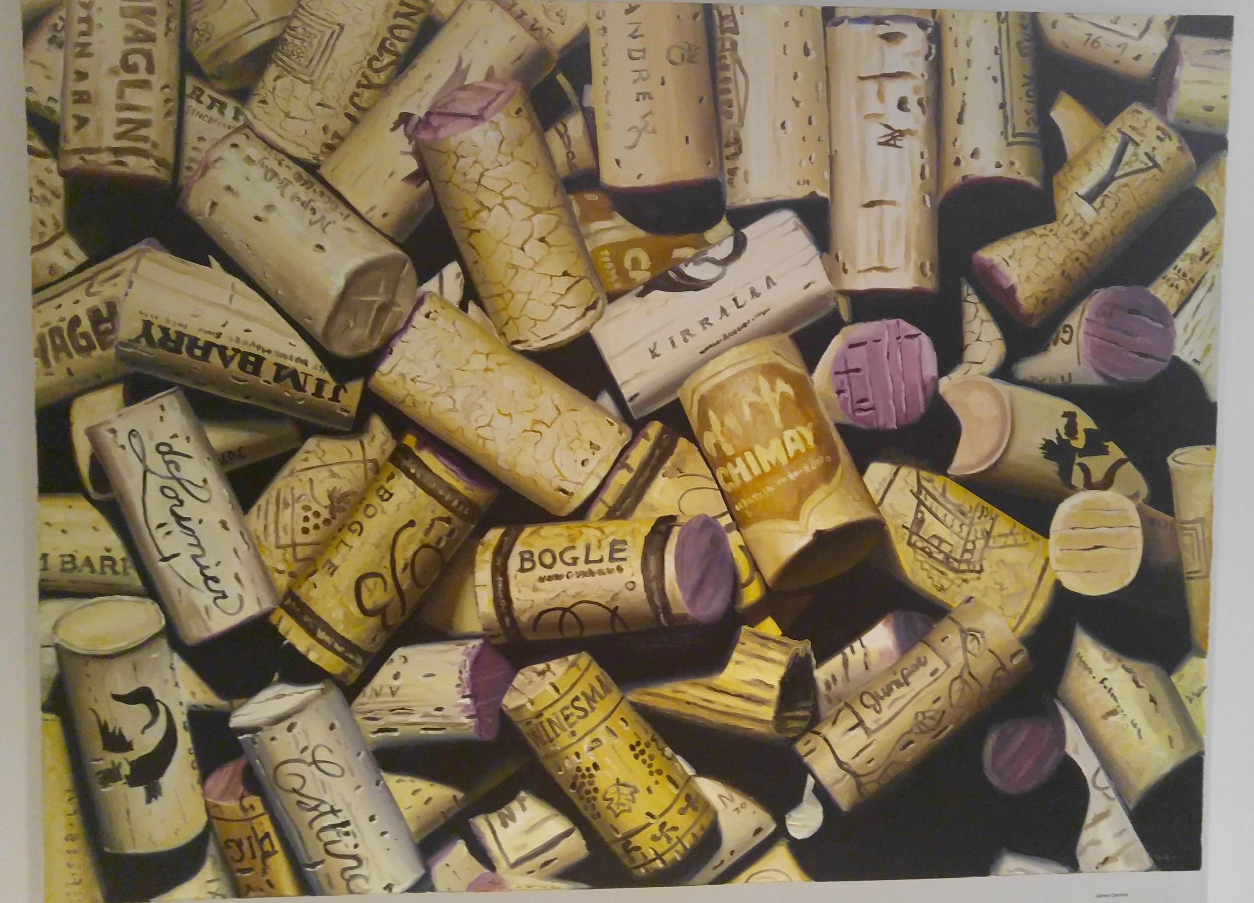 """Wine Corks No. 2"" by Dallas Gallery Ro2 artist James Zamora, 36 x 48"" oil on canvas"