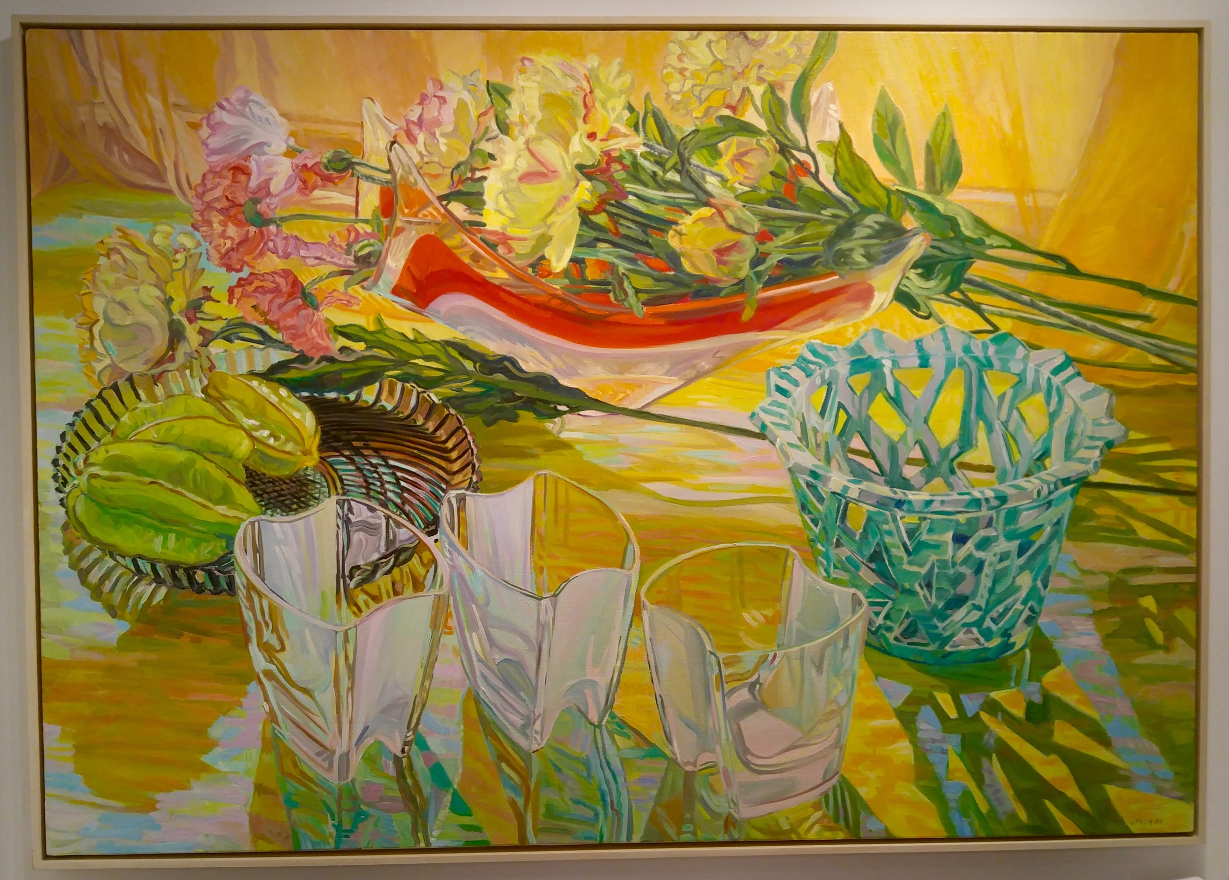 """DC Moore Gallery of New York had this 42 x 60"""" oil on linen by Janet Fish on display"""