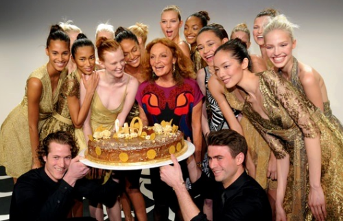 Diane von Furstenberg and the models celebrate the 40th anniversary of the DvF wrap dress. (photo - Getty)