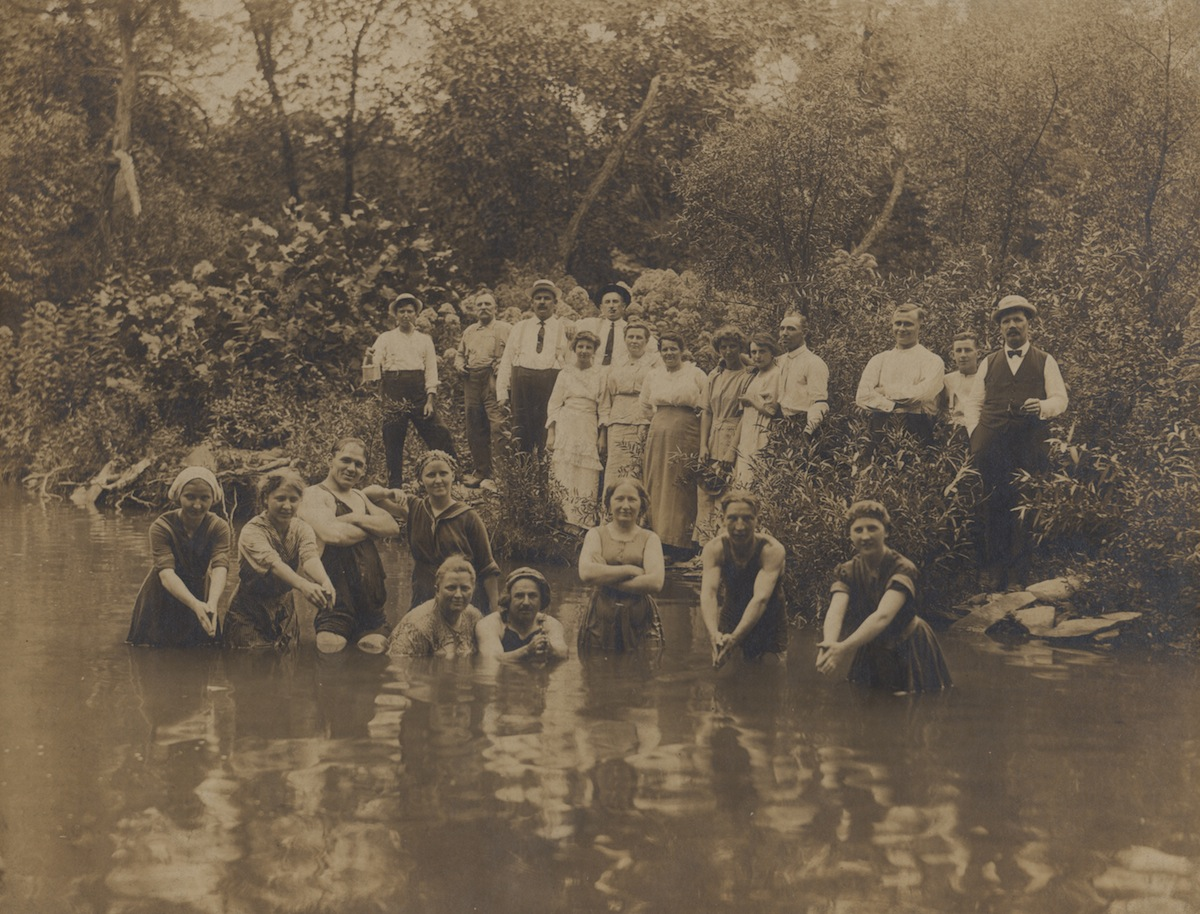 swimming   Joseph Linek had a zest for life that came through in his work. In this photo he is pictured with his arms folded in the water circa 1912.