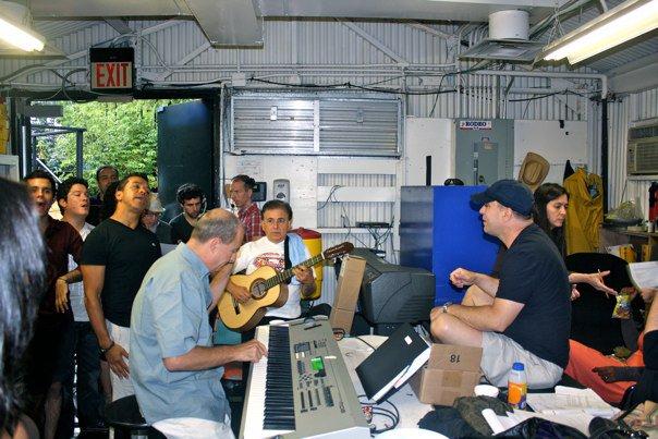 Capeman rehearsal in the rain.jpg