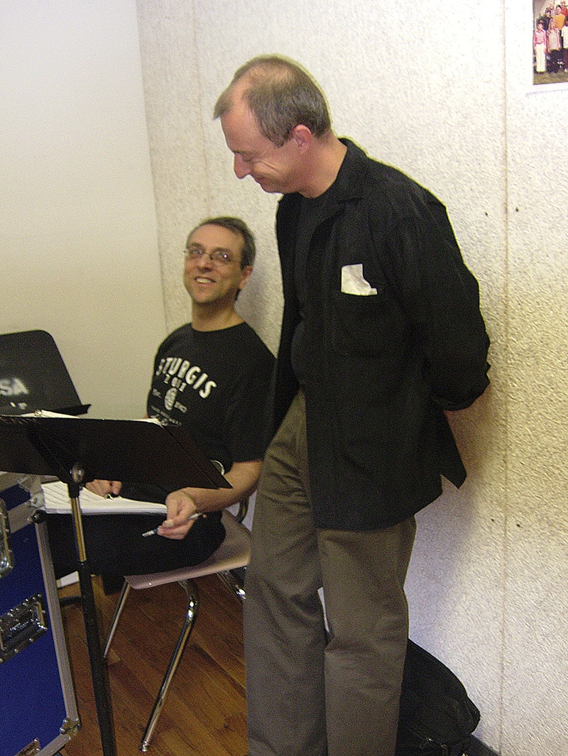 With Paul Ascenzo at the CD controls during an early reading.jpg