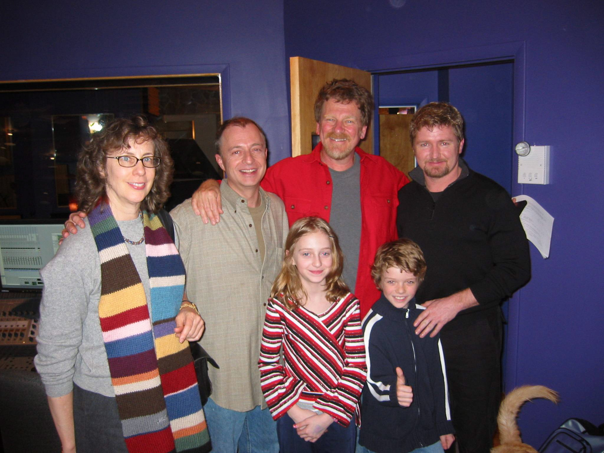 With Irene Mecchi, Roger Allers, et al. at The Thief recording sessions.jpeg