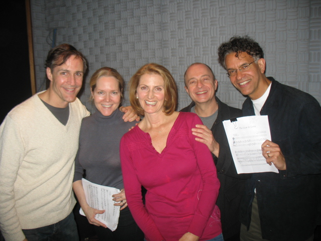 With Brian Stokes Mitchell, Howard McGillin, and Rebecca Luker at The The Lion In Love sessions.JPG