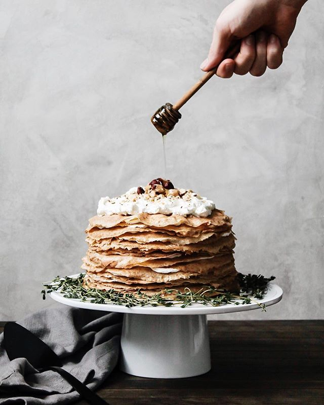 THIRTY TWO • Here's to taking risks, chasing the dream, finding balance, and letting it all soak in. [pictured: 32 layer whole wheat crepe cake with honey thyme whipped ricotta, toasted hazelnuts, and a little black pepper for good measure]