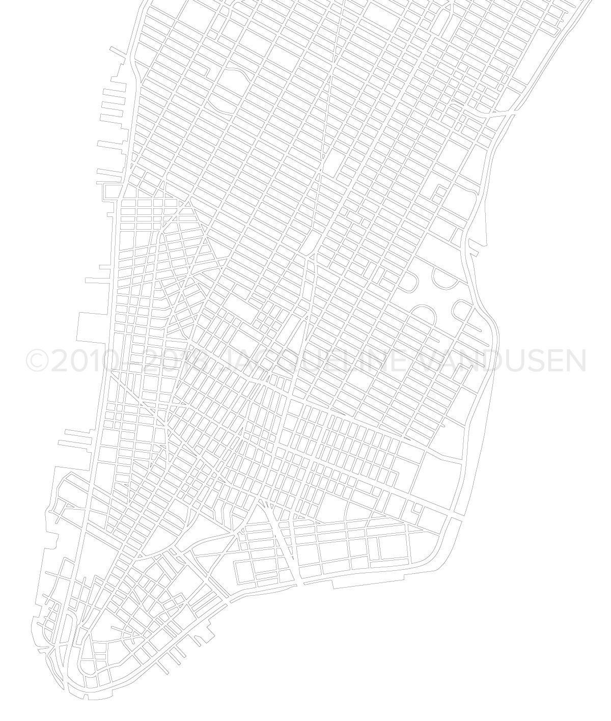 Manhattan Map (Close-up of Downtown)