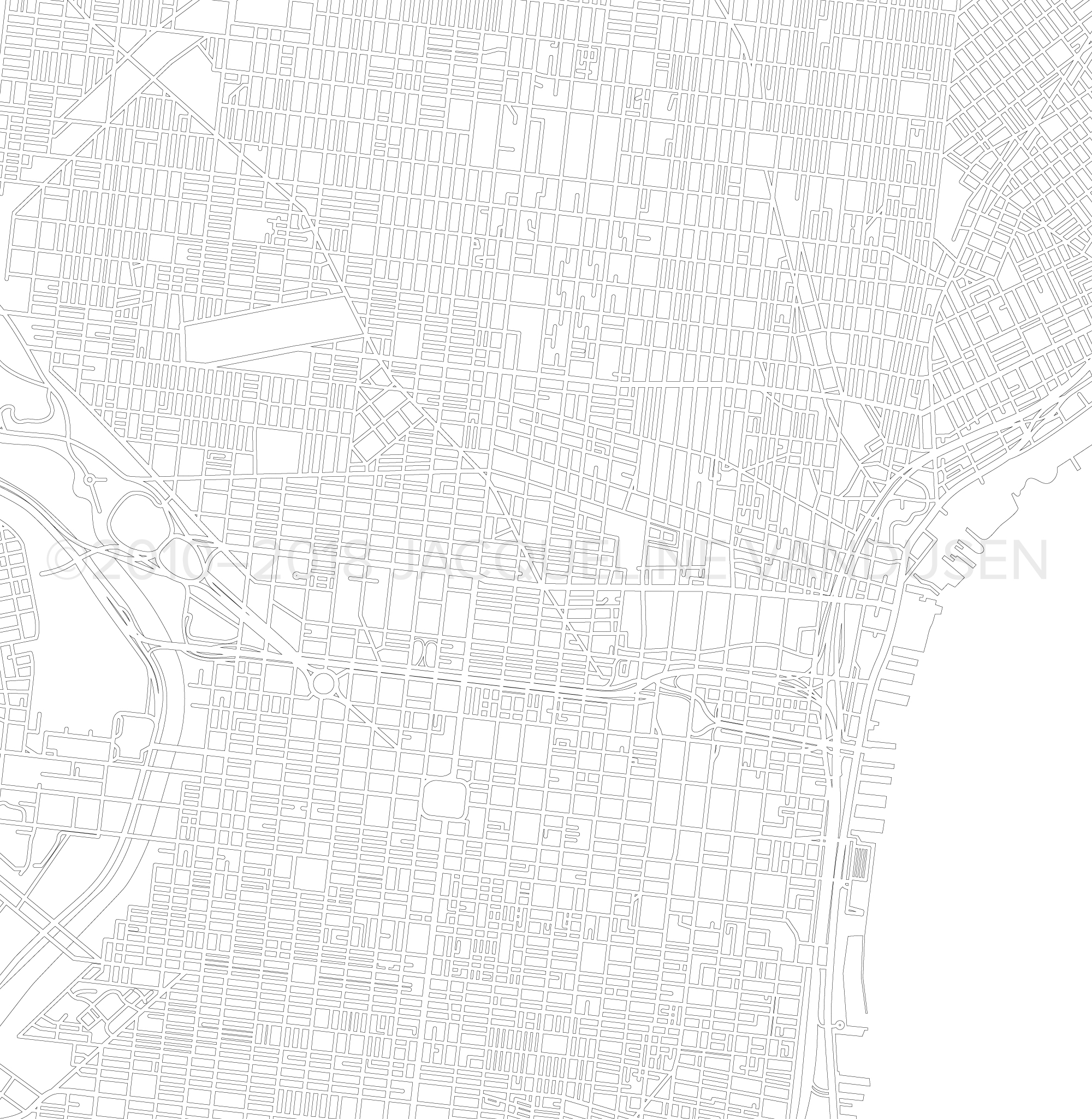 Philadelphia Map (Close-up of Center City)