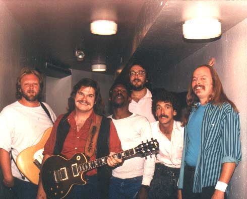 Band #5 1988 Danny Ott, me, Gerald Johnson, Sean Finnigan, Jan Ashley and Jon Hurley. In the hallway before opening for Joe Walsh at the Celebrity Theater in Phoeniz, AZ.