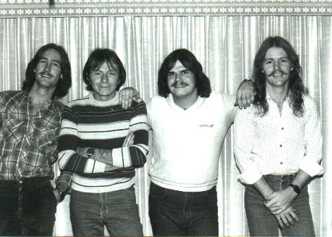 "Here is a pic of my first band, ""Whistler"", also one of my funniest groups.   Rob Adams, Jerry Cox, myself and Ricky Lewis."