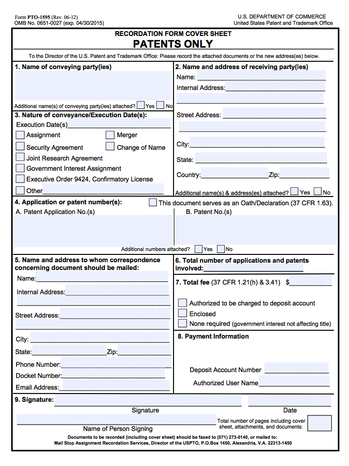 Download Recordation Form Cover Form