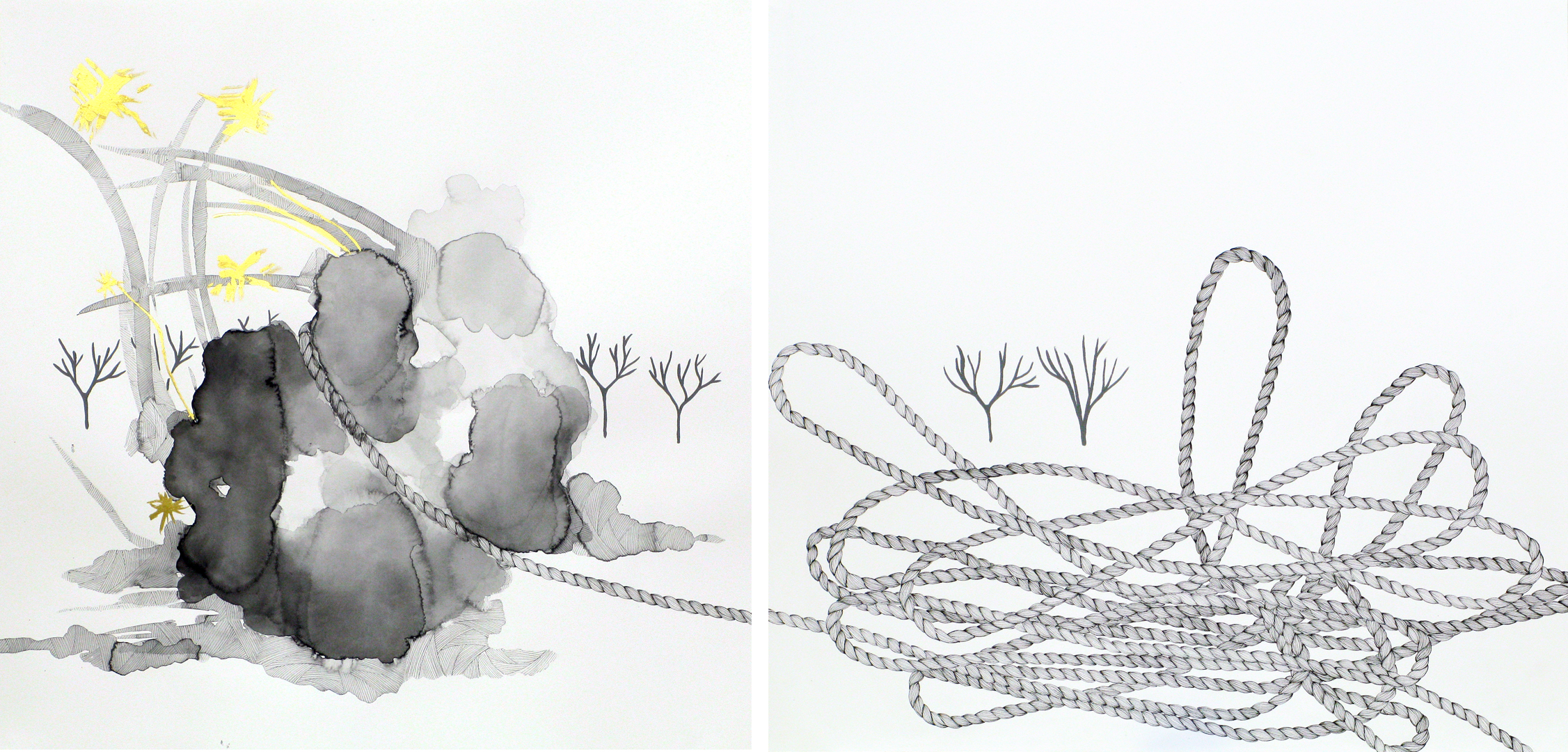 """what a drag, at the end of my rope"""" (diptych)"""