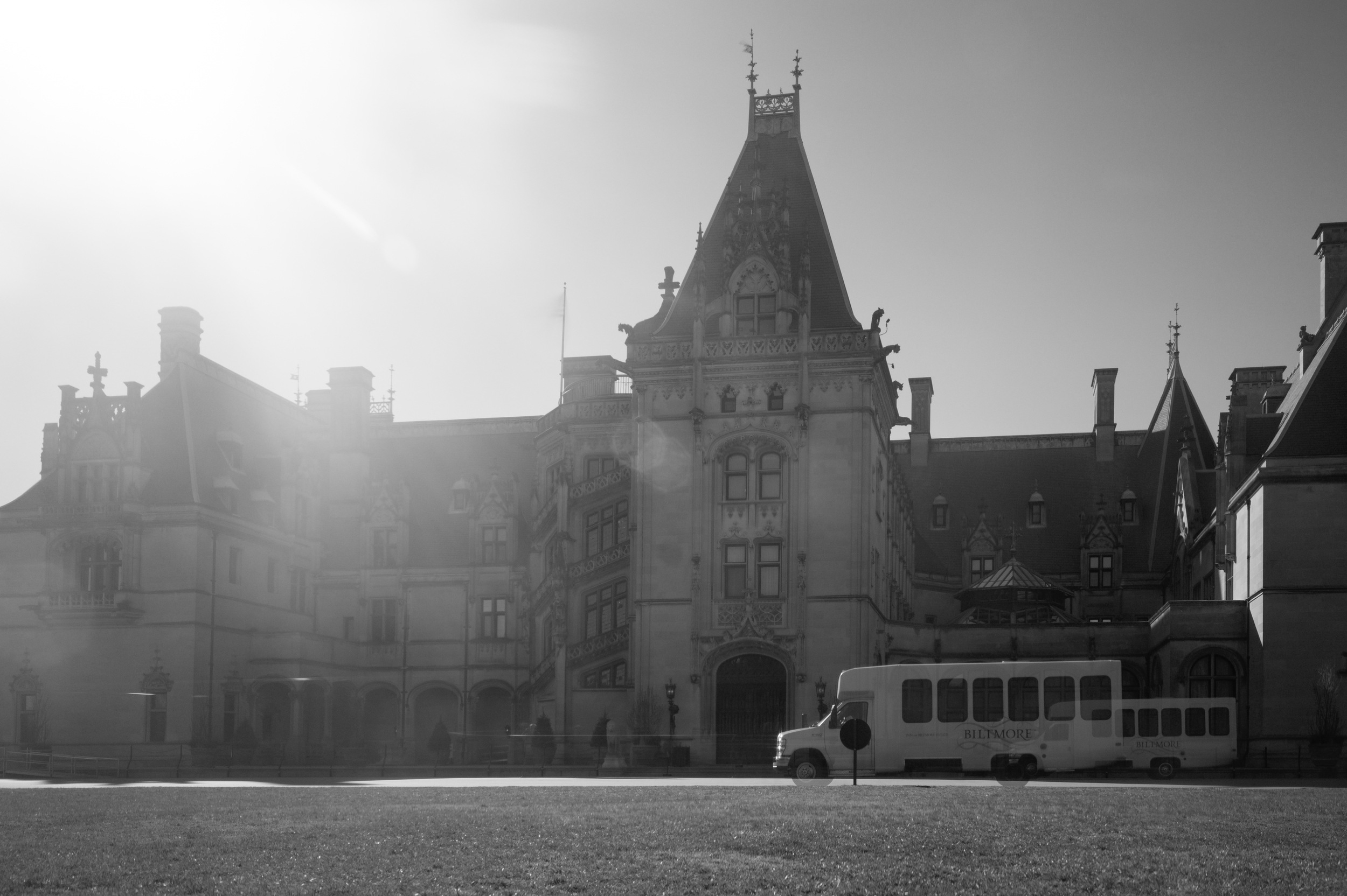 A B&W shot of the Biltmore Mansion done long exposure using a piece of welding glass.