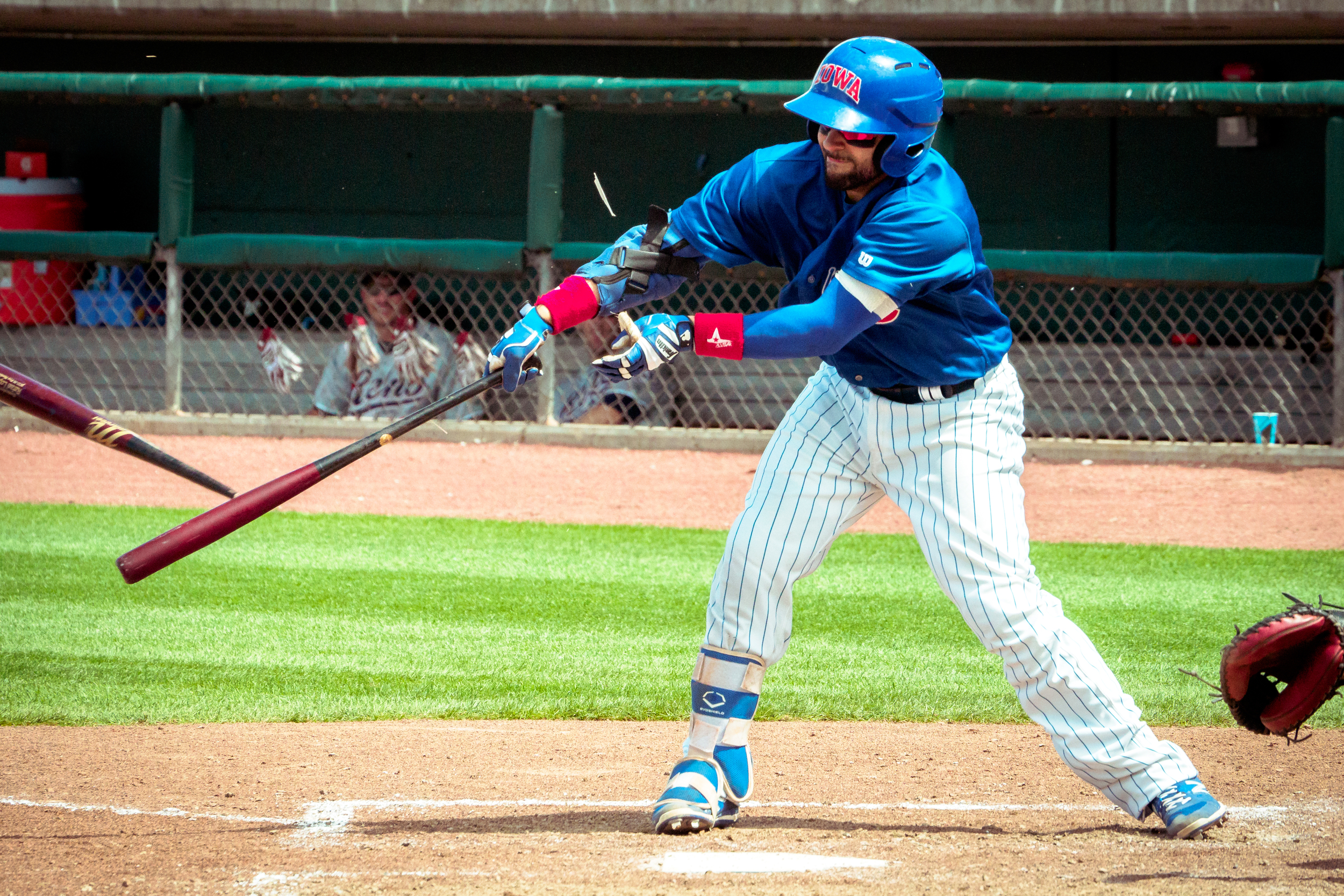 This Iowa Cubs player wasn't having the best day after smashing his bat in several pieces.