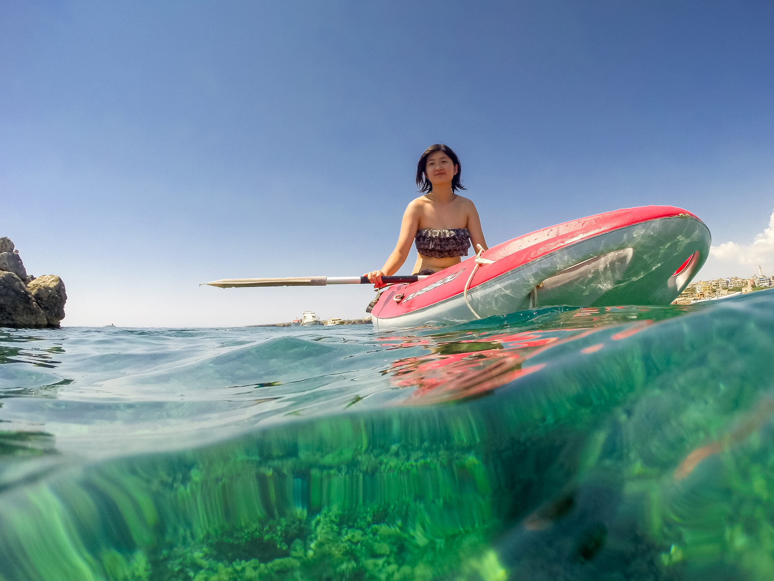 Helen went into a kayak for part of the time. I thought it was a good opportunity to take a portrait of her with the GoPro and this is what I got. I think it turned out fairly well, and it got featured on a travel site's Instagram feed when I posted it! If you don't follow me yet on there you should as I post great photos often first on there.