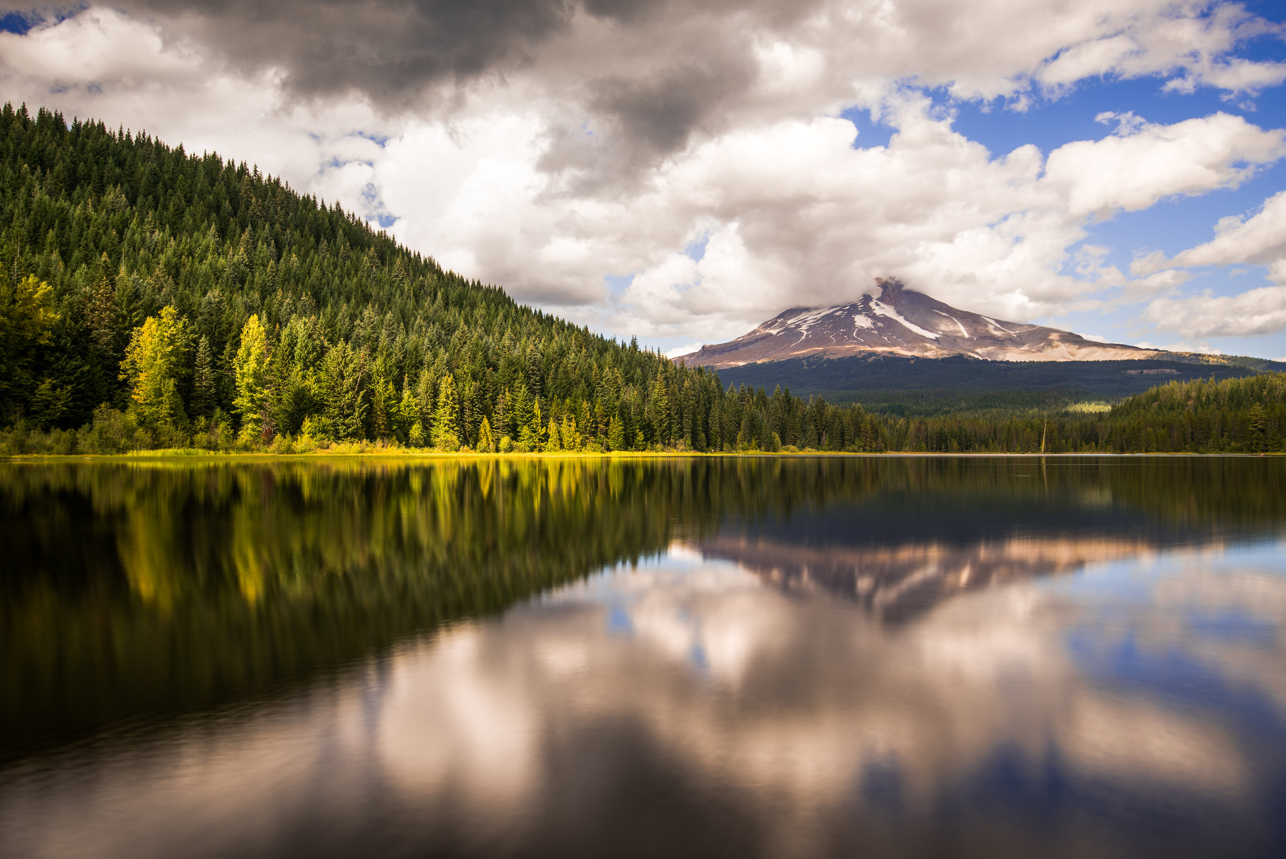 A blending of two images to get a mirrored scene classic to Oregon.