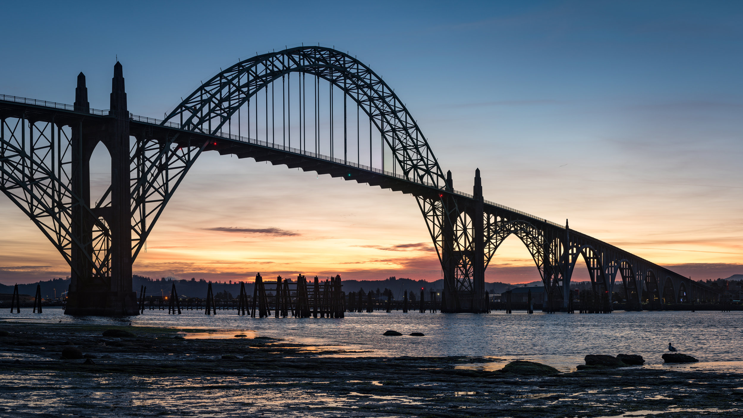 Newport Bridge during the sunrise on Saturday morning.