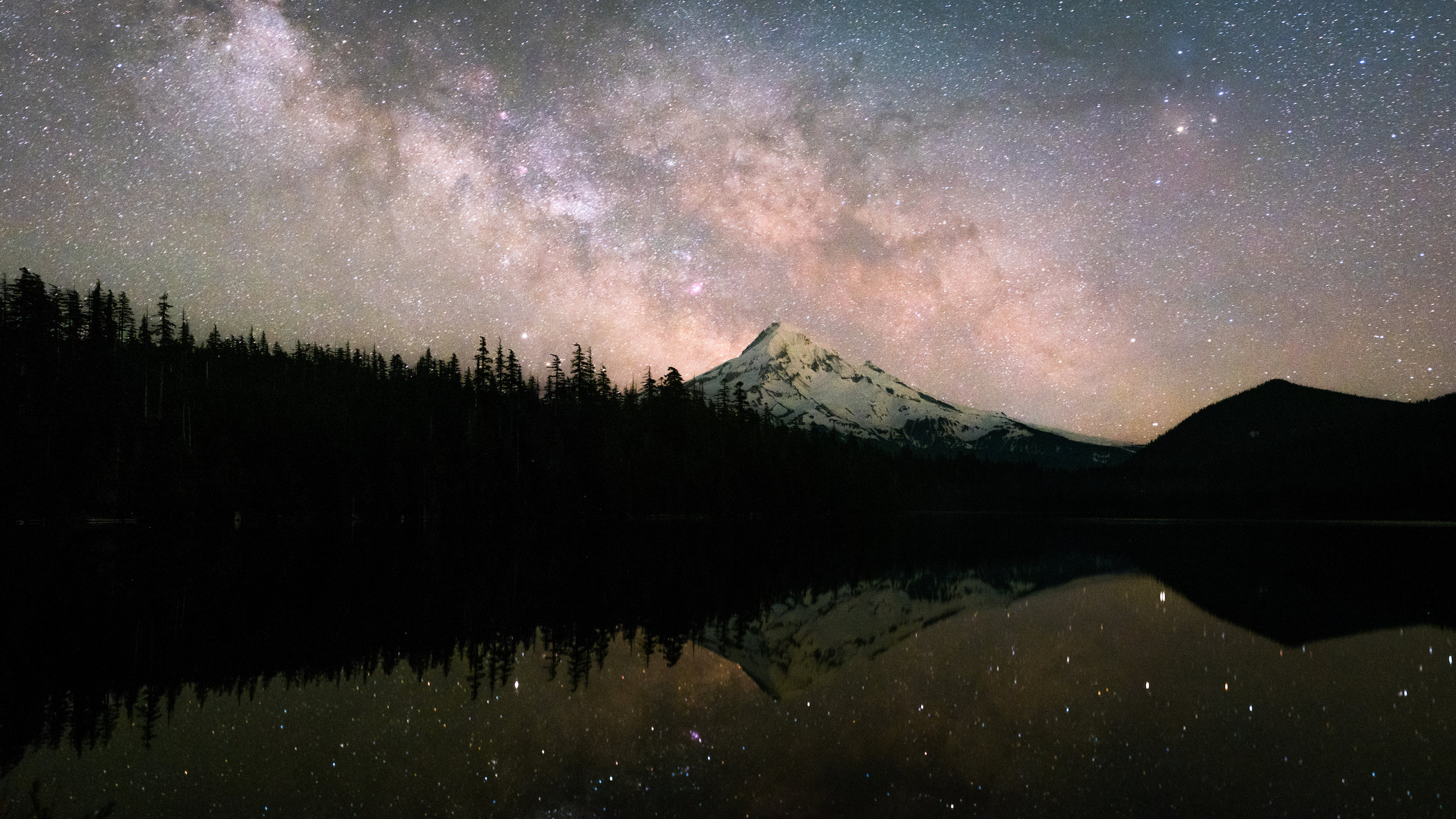 This was the first shot and panorama of the night. The Milky Way was visible to the eye, but it just looked like dark clouds on the horizon.