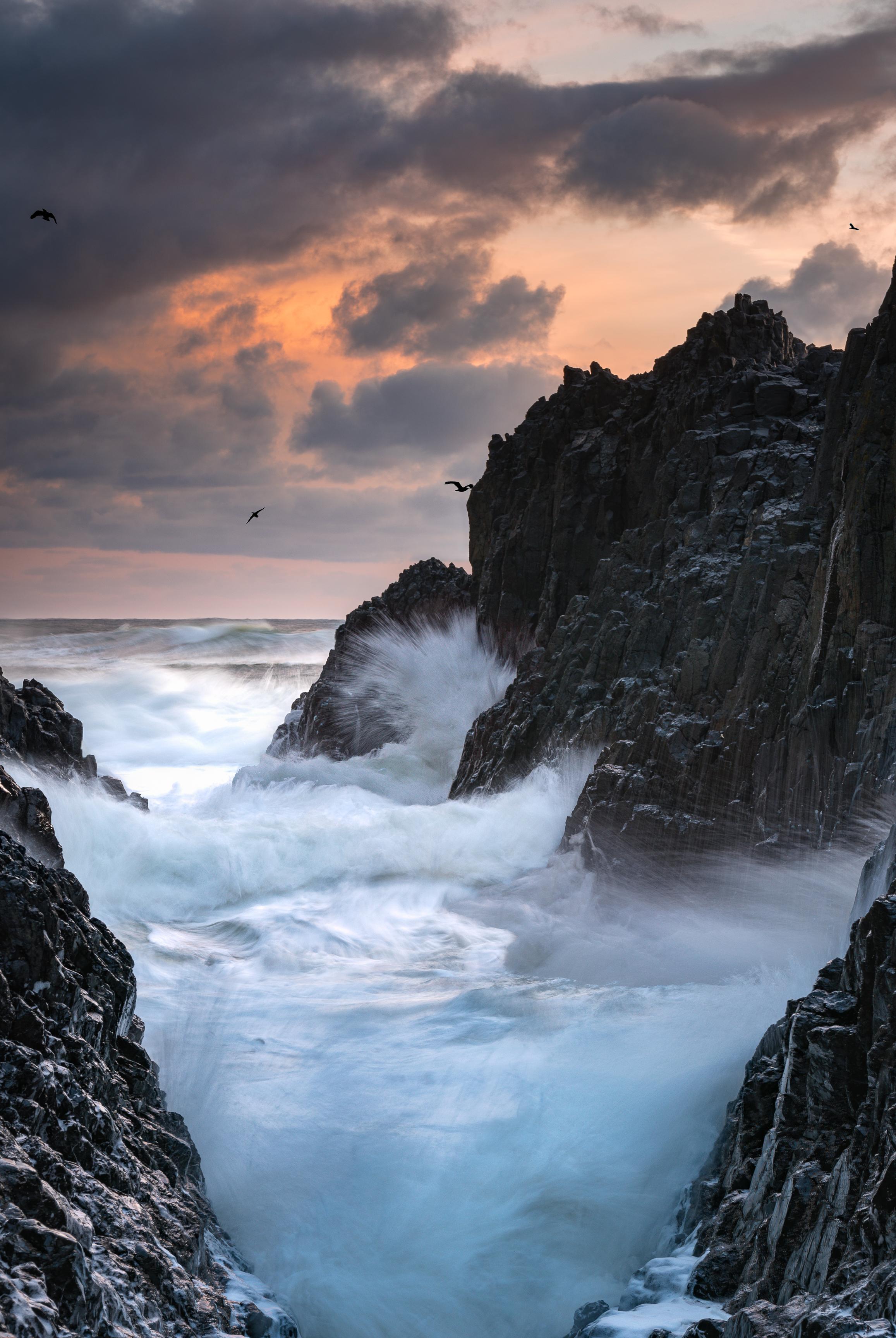 oregon coast waves sunset