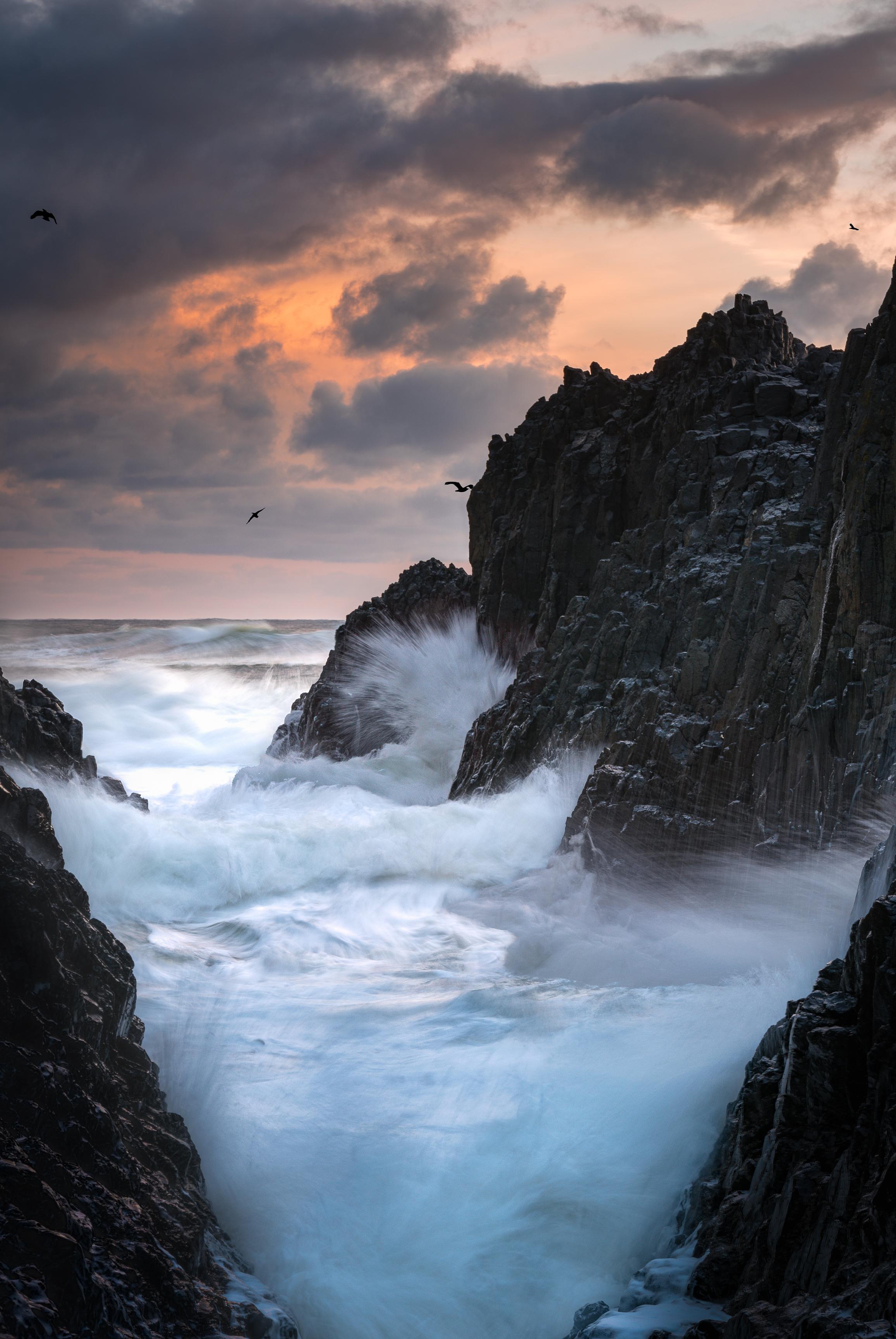 oregon coast sunset and waves