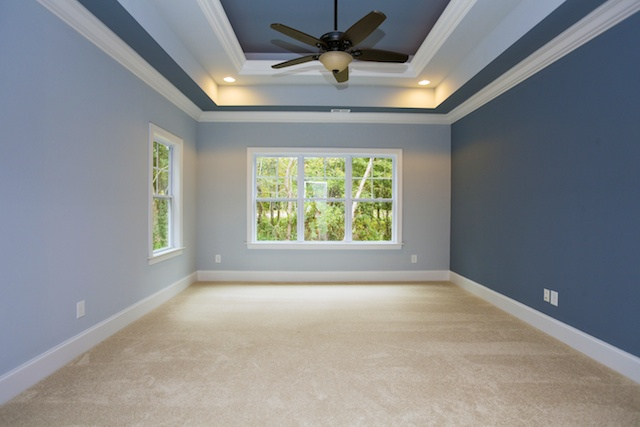 Master suite with bold blue paint Sunset Beach, NC