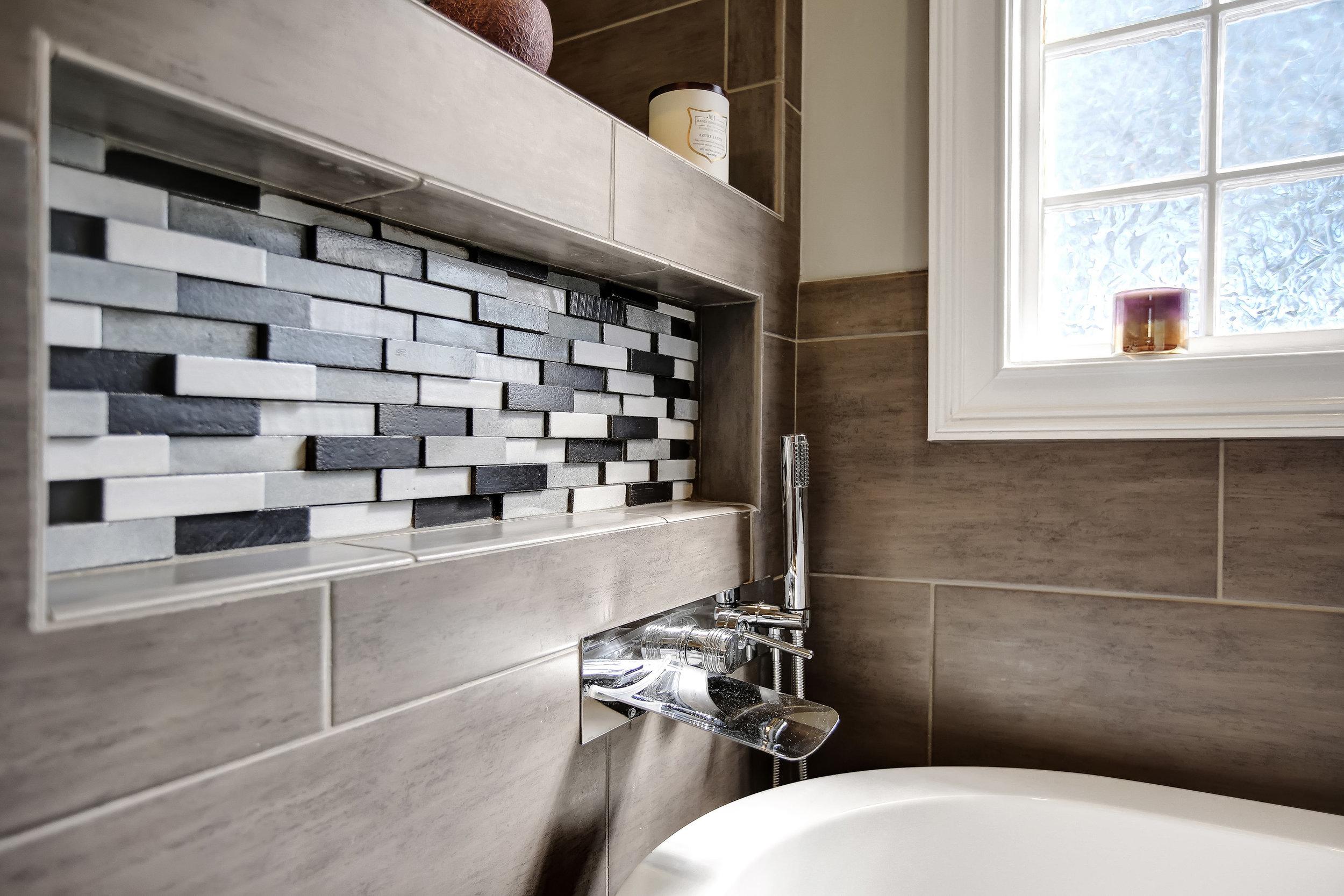 Mosaic tile in modern bath Waterbridge SC