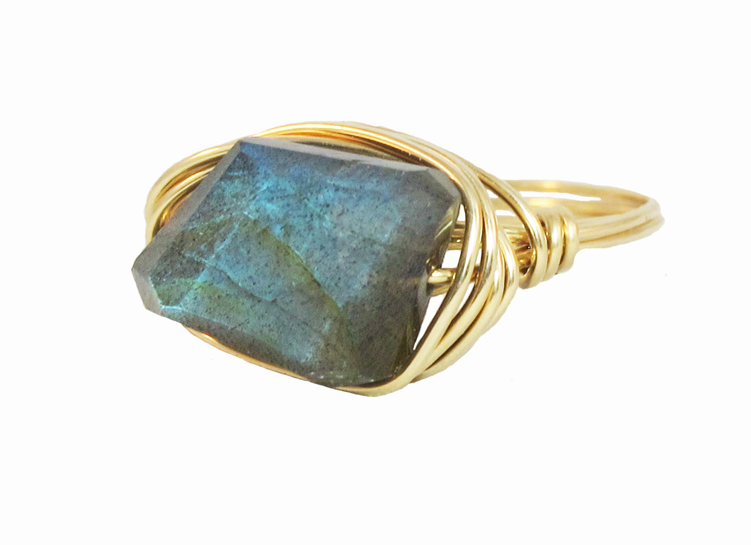 LABRADORITE AND GOLD RING