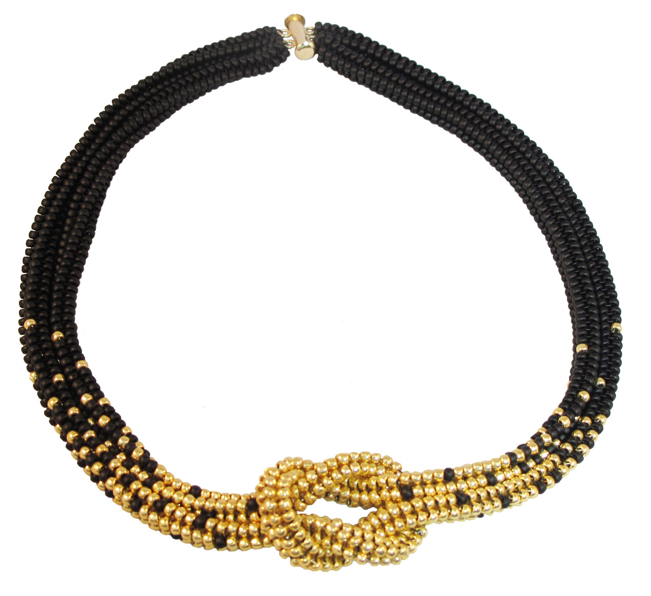 MATTE BLACK AND GOLD KNOT NECKLACE