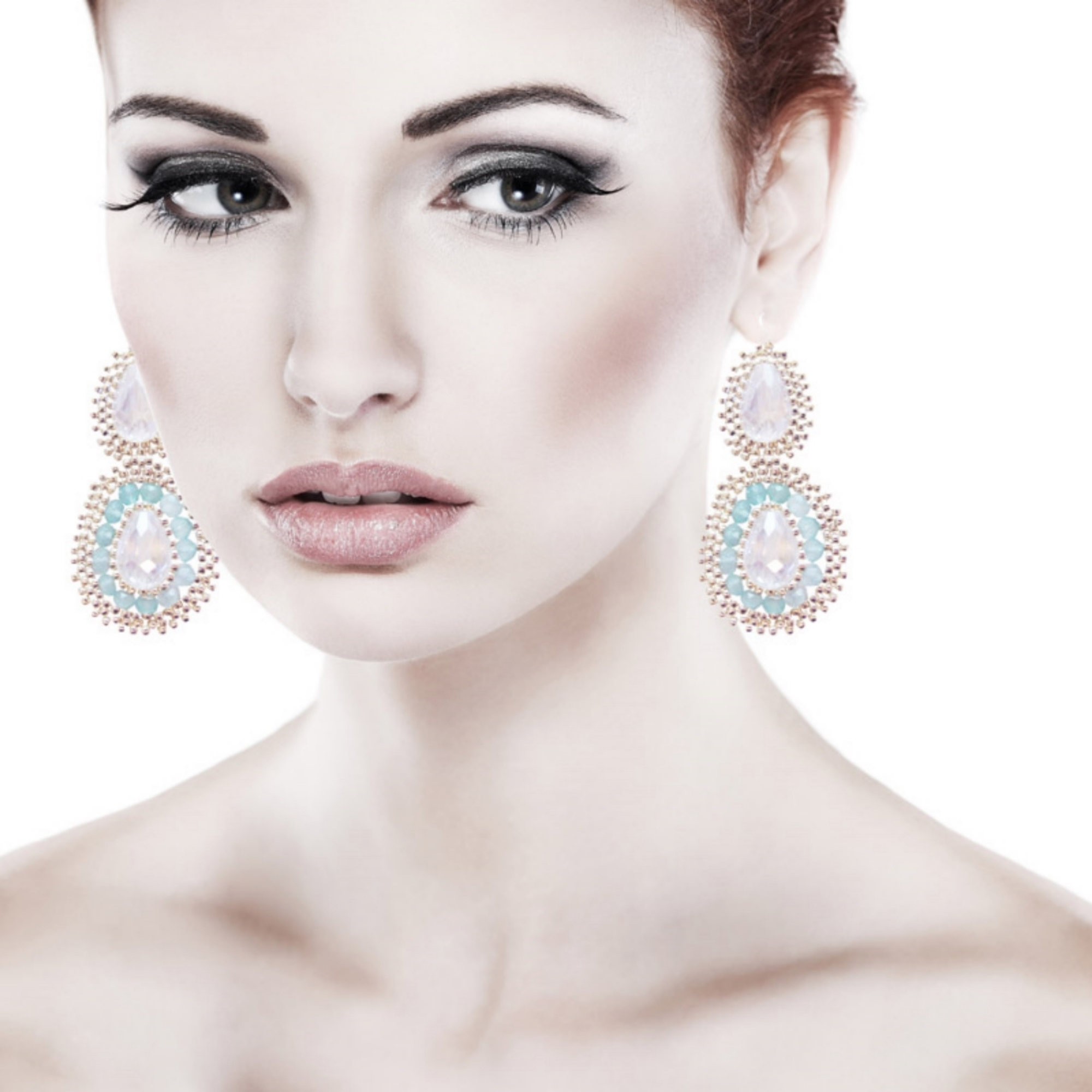 SILVER, AQUA CHALCEDONY AND CRYSTAL MEDALLION EARRINGS