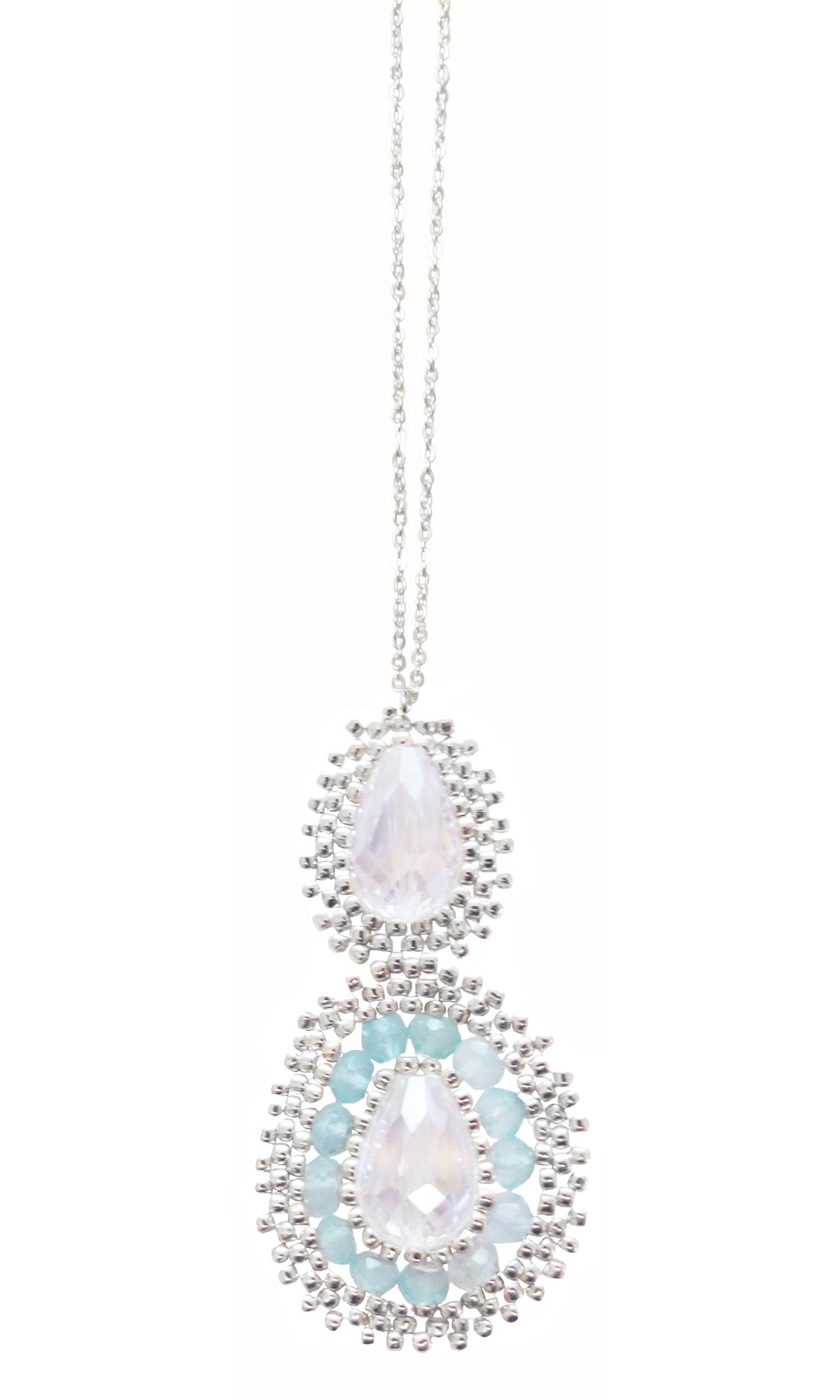 SILVER, AQUA CHALCEDONY AND CRYSTAL MEDALLION DAINTY NECKLACE