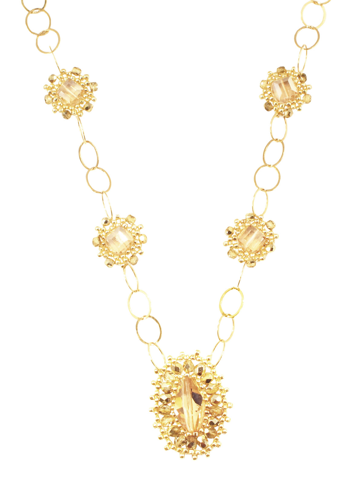 SWAROVSKI CRYSTAL AND GOLD FILLED NECKLACE