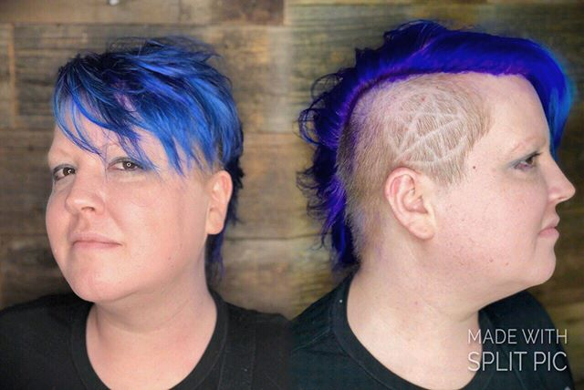 Cut&Color .. #crowsalon #crowsalonlamesa #pentagram #pentacle #pagan #hairdesigns #bluehair #violetroots #mohawk #lamesa #lamesasalon #lamesahair #sandiego #sandiegohair #sandiegohairstylist #sd #sdhair #sdhairstylist