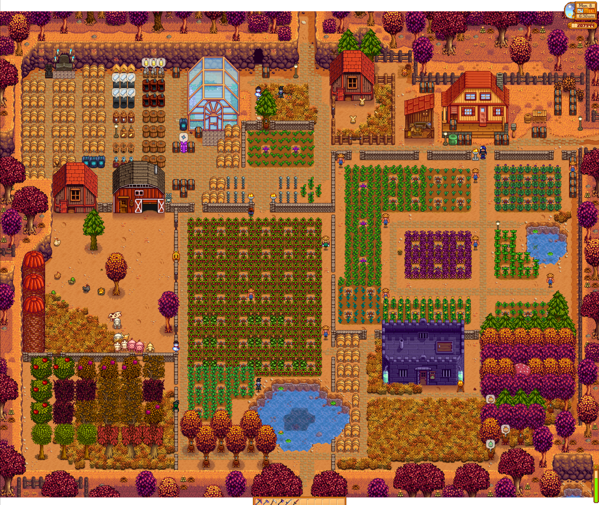 After 2 1/2 in game years and 95 hours in game, I present to you: Happy Farm.