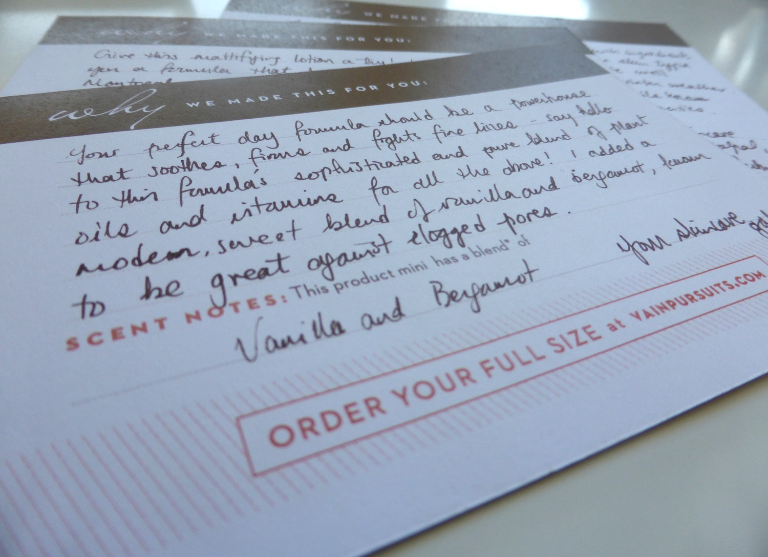 Vain Pursuits - Custom Skincare - Hand-written cards - Made in Montreal