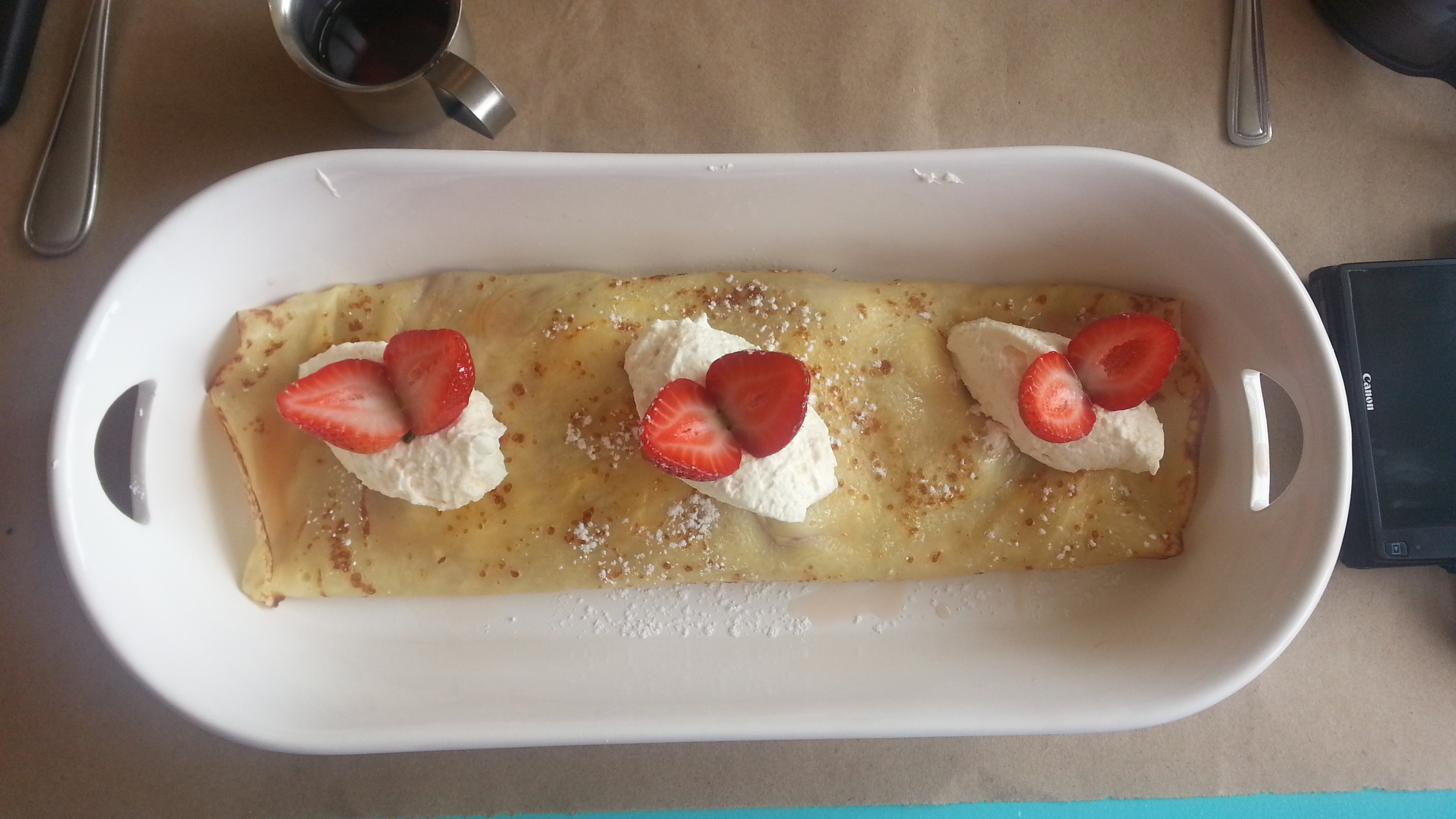 Cream cheese + strawberries in syrup crepe