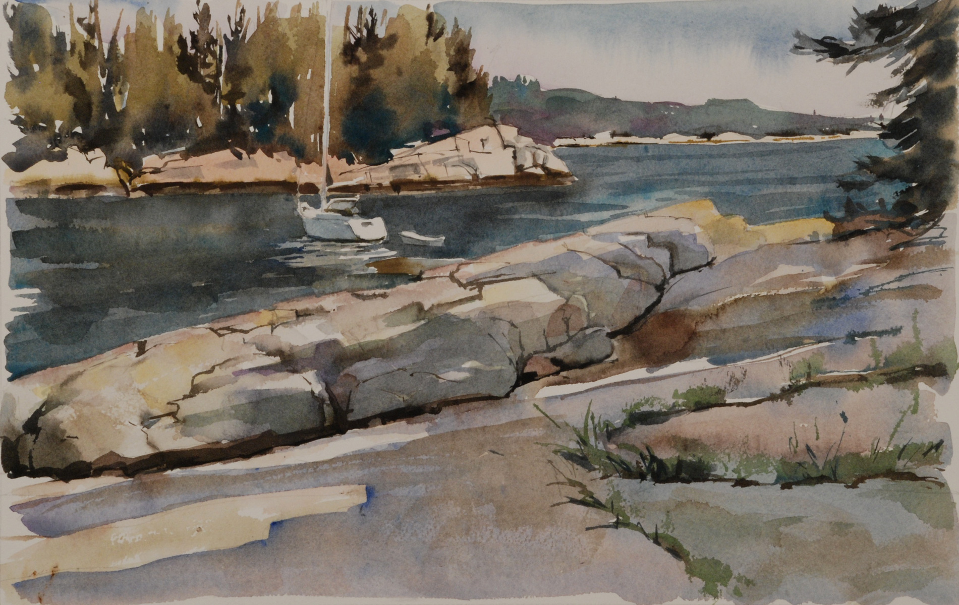 "White Island Anchorage   Watercolor, 16"" x 22"""