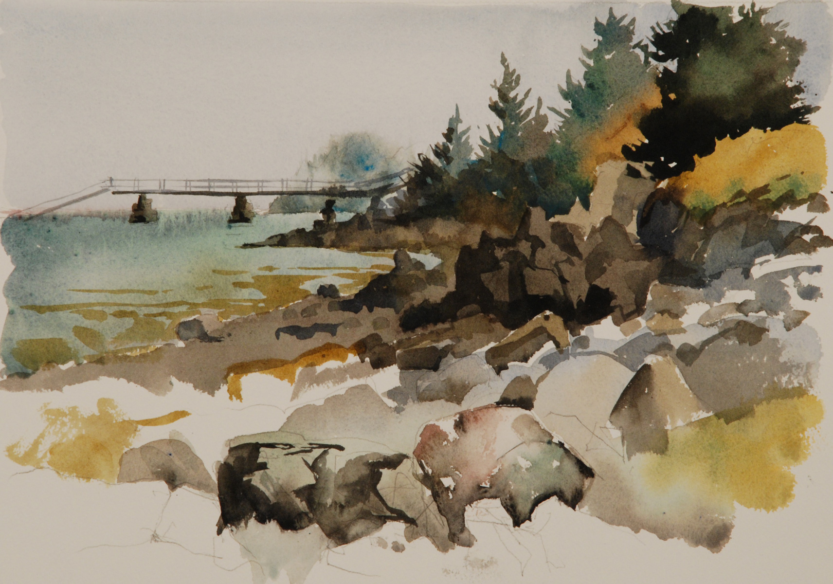 "Shoreline II   Watercolor, 14"" x 17"""