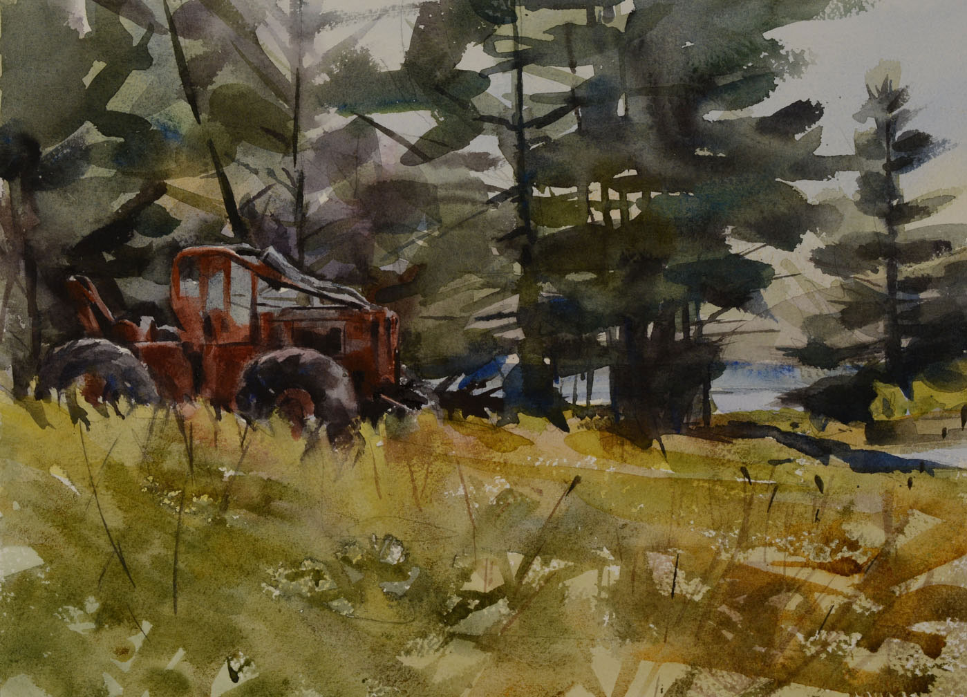 "Red Tractor   Watercolor, 11"" x 15"""