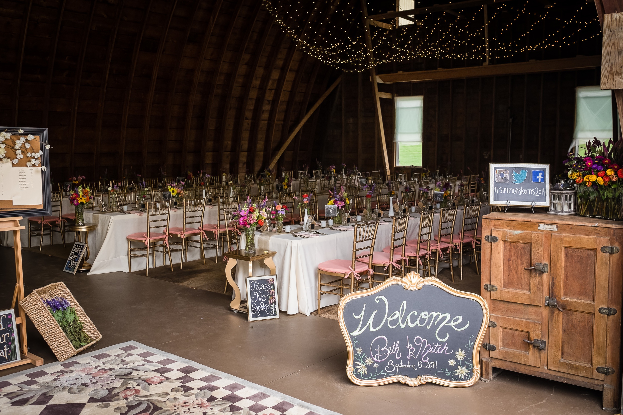 The view that greets guests as they enter the barn reception