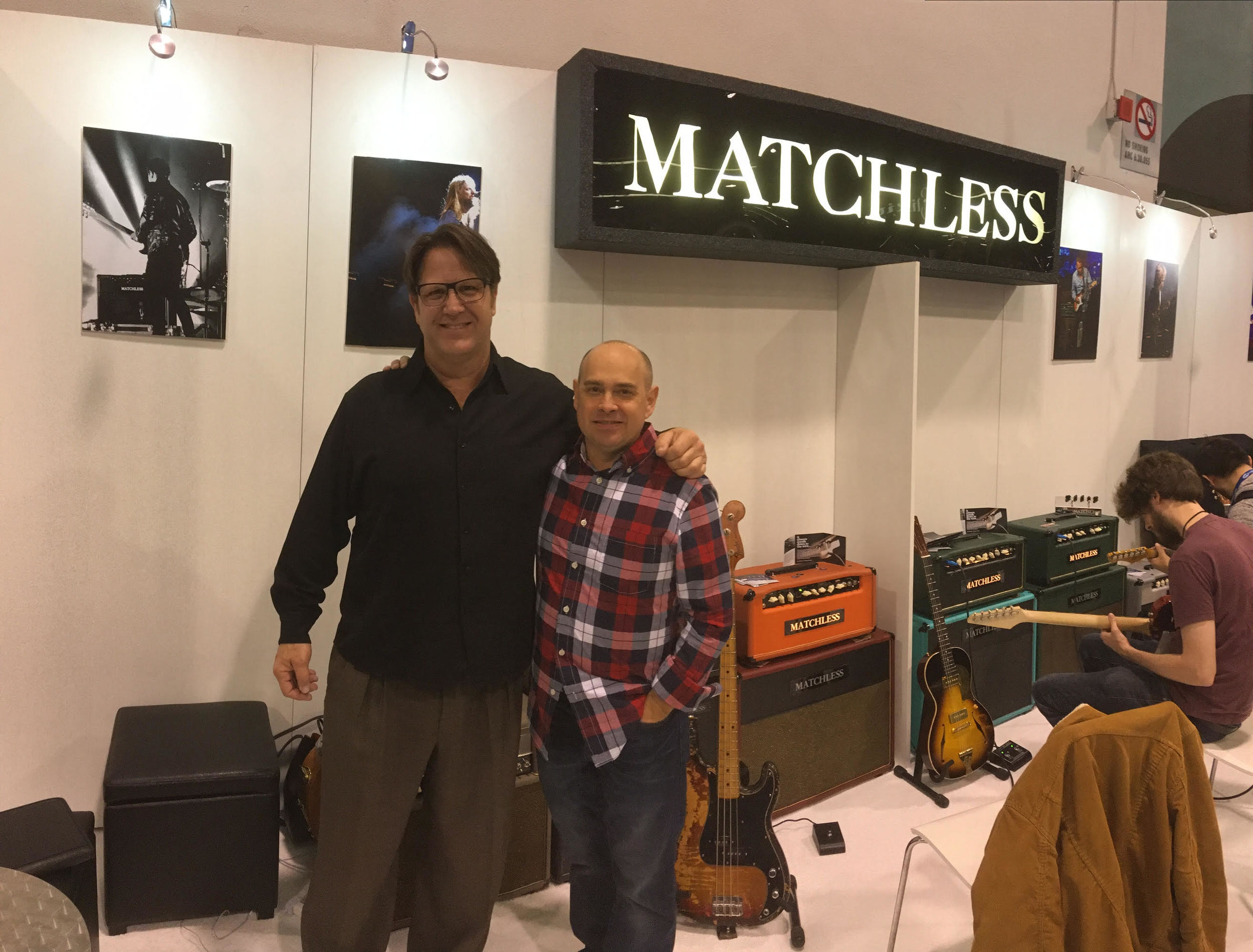 Dariush Rad, president of Asterope (left), with Phil Jamison, president of Matchless Amplifiers (right)