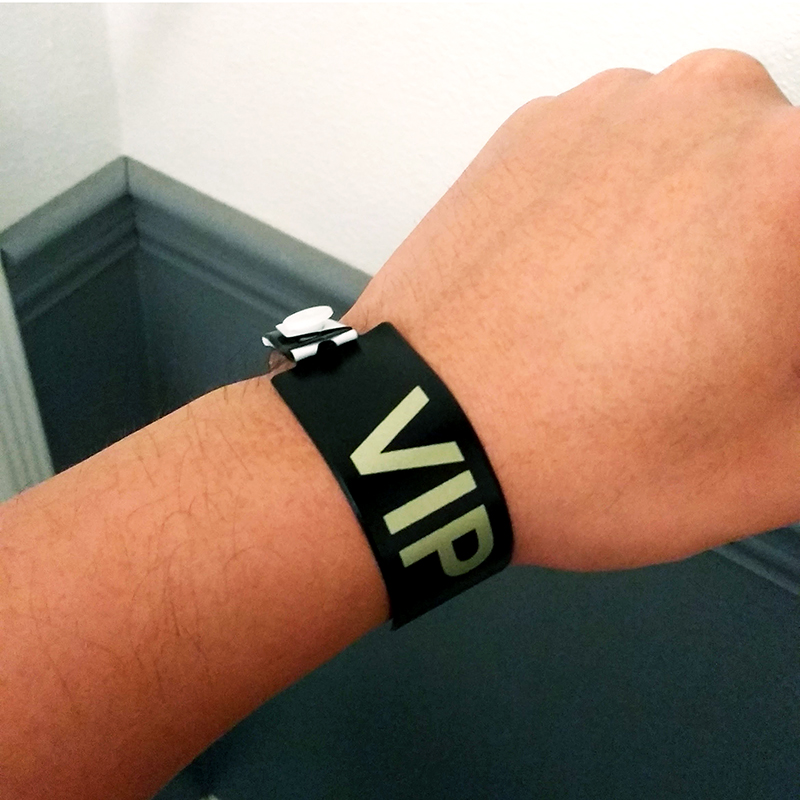 VIP wristband  It was really annoying and awkward since there was just the one and I had to wear it for 3 days without being able to take it off