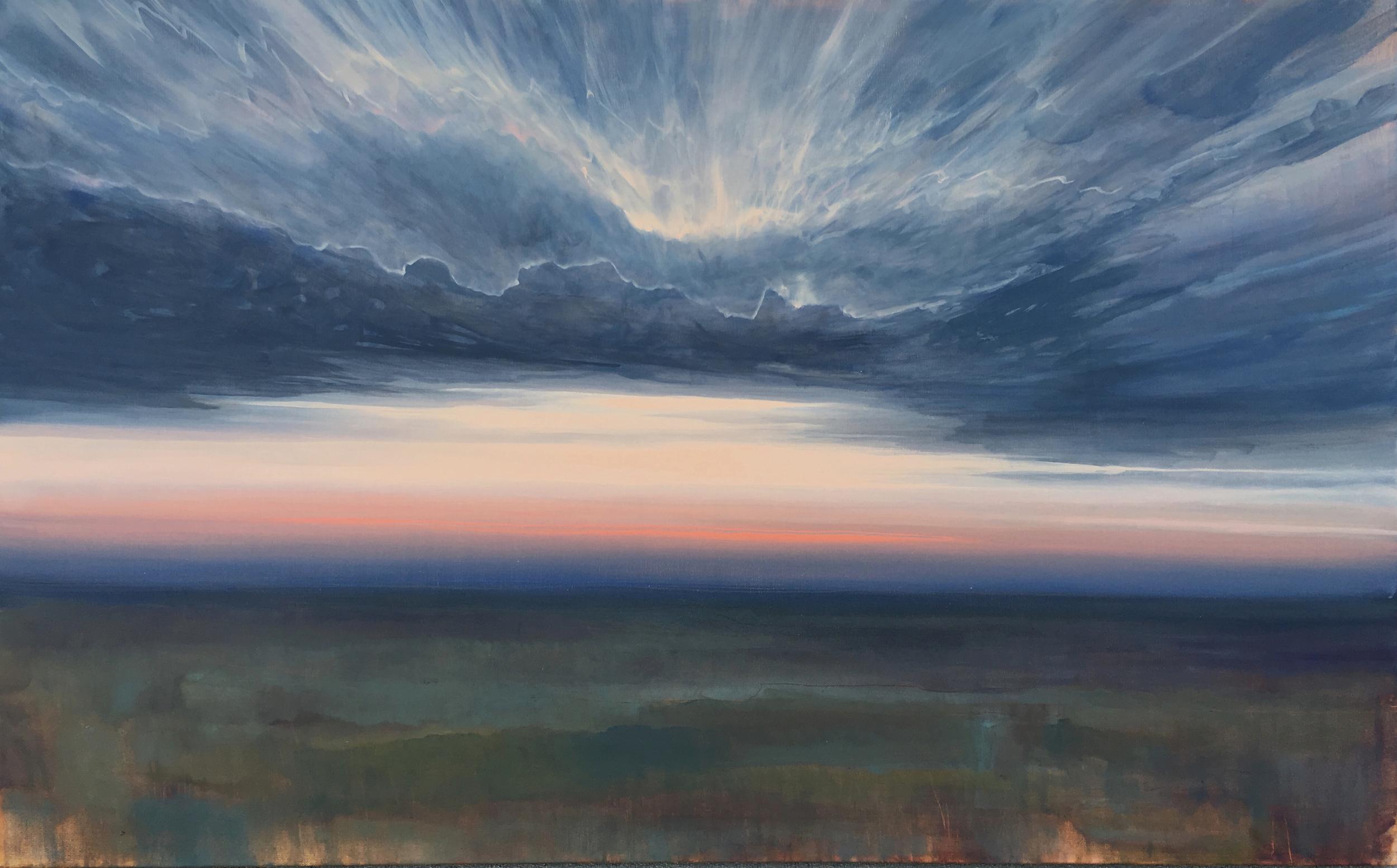 "Roar Back Again , oil on canvas, 30 x 48"""