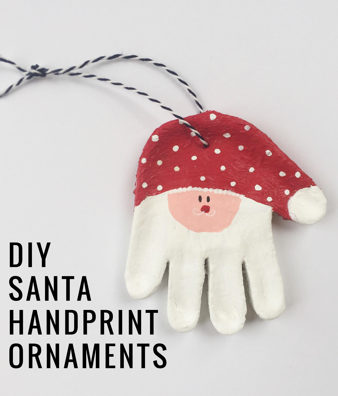 DIY Santa Handprint Salt Dough Baby Ornaments  | Momma Society-The Community of Modern Moms | www.MommaSociety.com