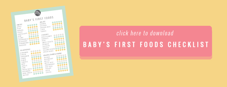 Baby First Foods | Click for the FREE printable checklist of foods for baby| Baby led weaning, baby food