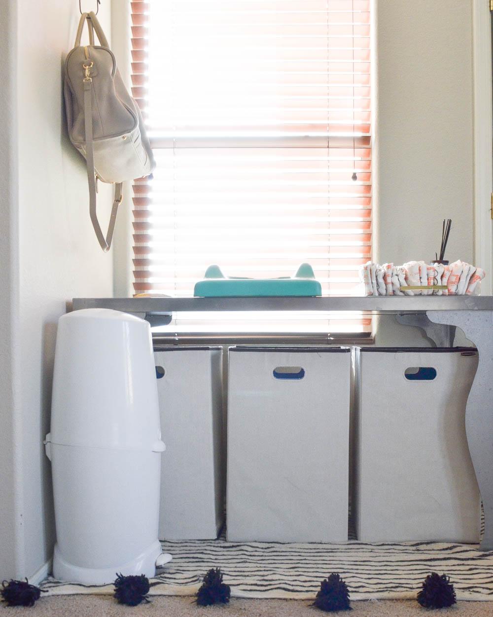 Master Bedroom | CoSleeping Bedroom | CoSleeping | Newborn | Laundry Organization | Diaper Changing Station
