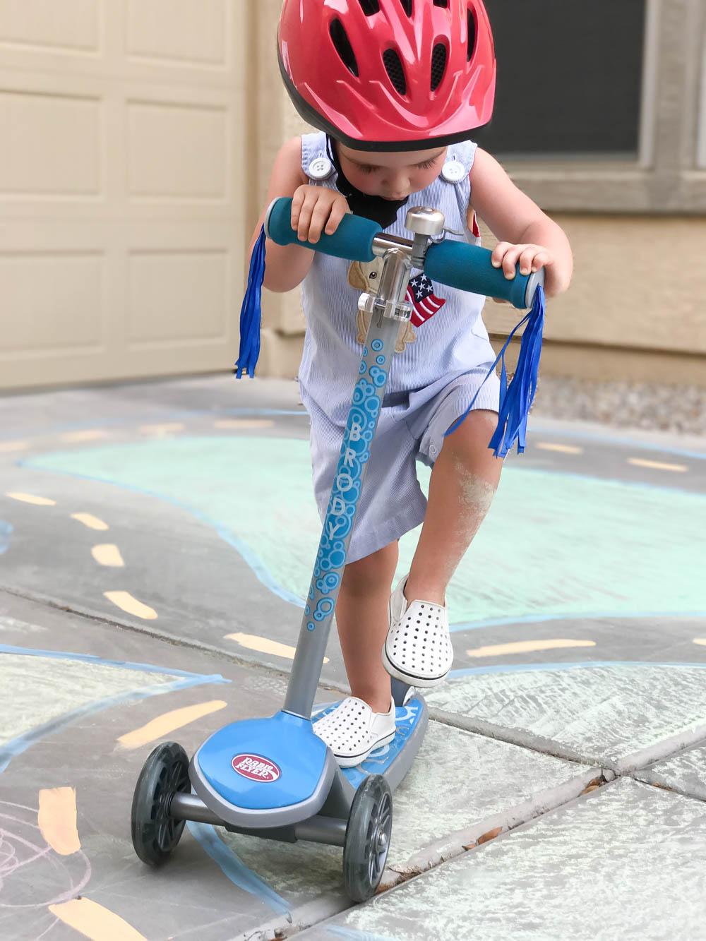 Driveway Chalk Scooter Racetrack   Toddler Imagination   Imaginative Play   Radio Flyer   #sponsored