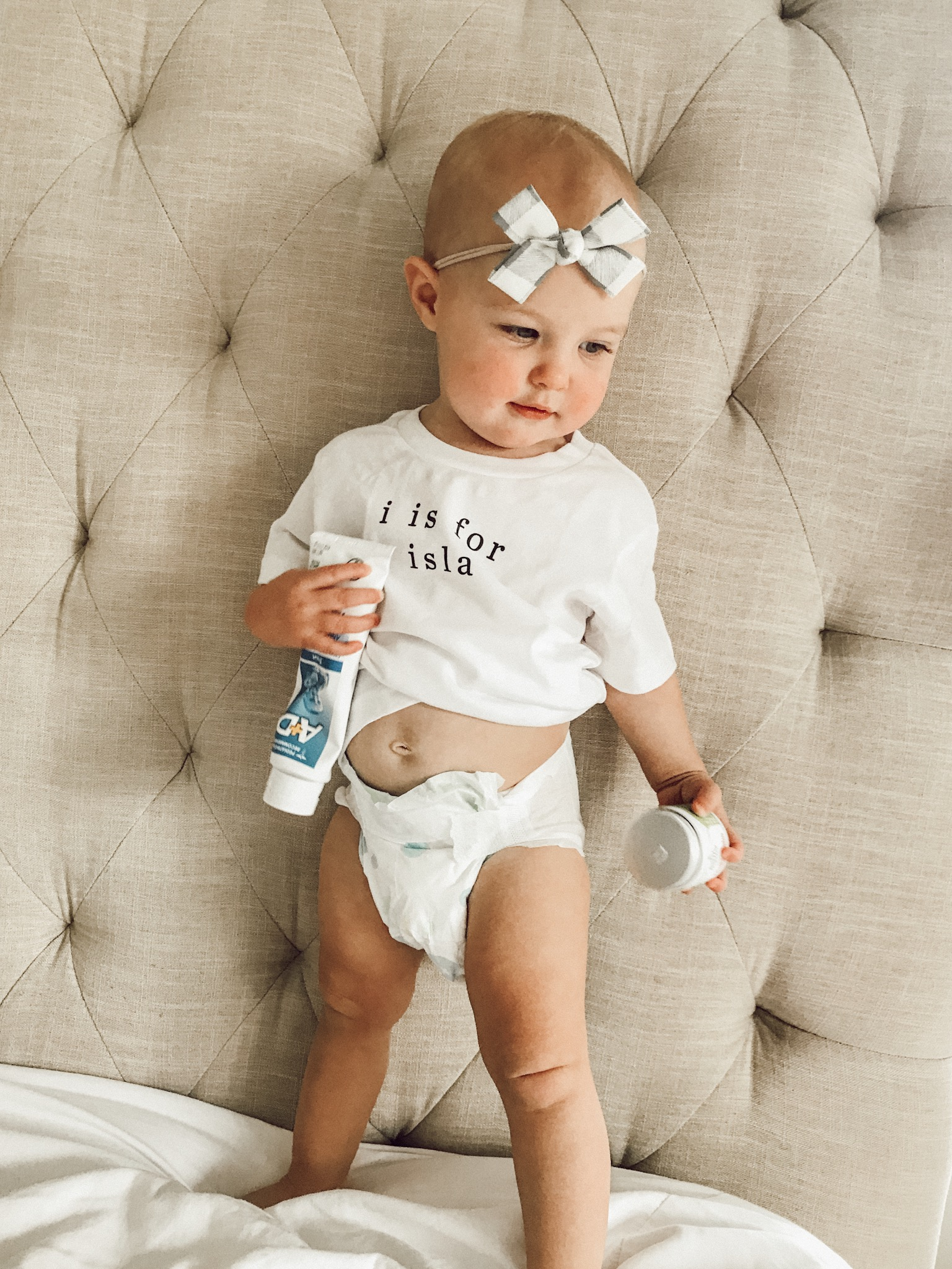 Custom onesie and baby bow